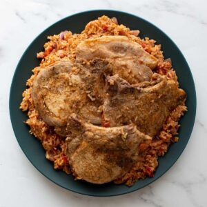 Instant Pot Pork Chops and Rice.