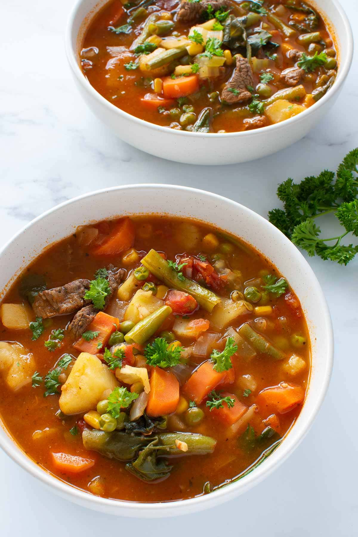 Two bowls of beef soup with potatoes, carrots, green beans and vegetables.