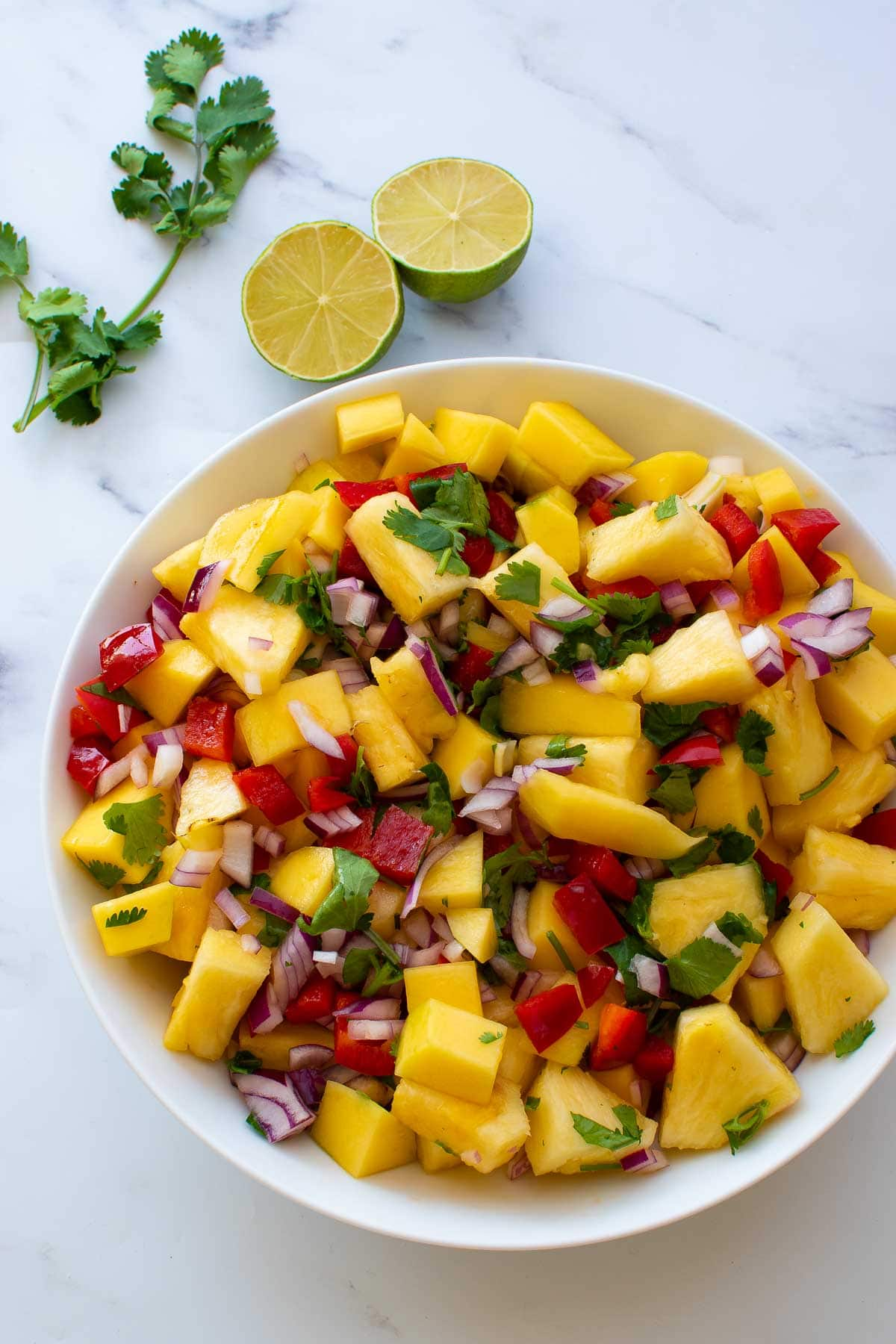 Salsa with cilantro, mango and pineapple.