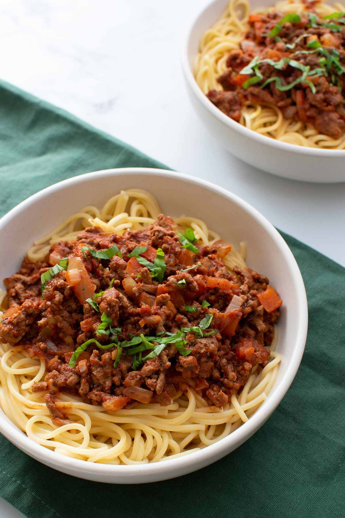 Close up of slow cooker spaghetti bolognese.