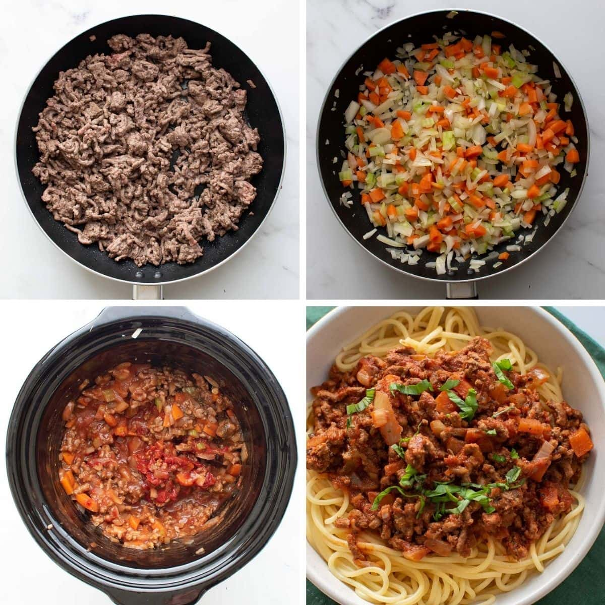 Step by step instructions for how to make bolognese sauce in the slow cooker.