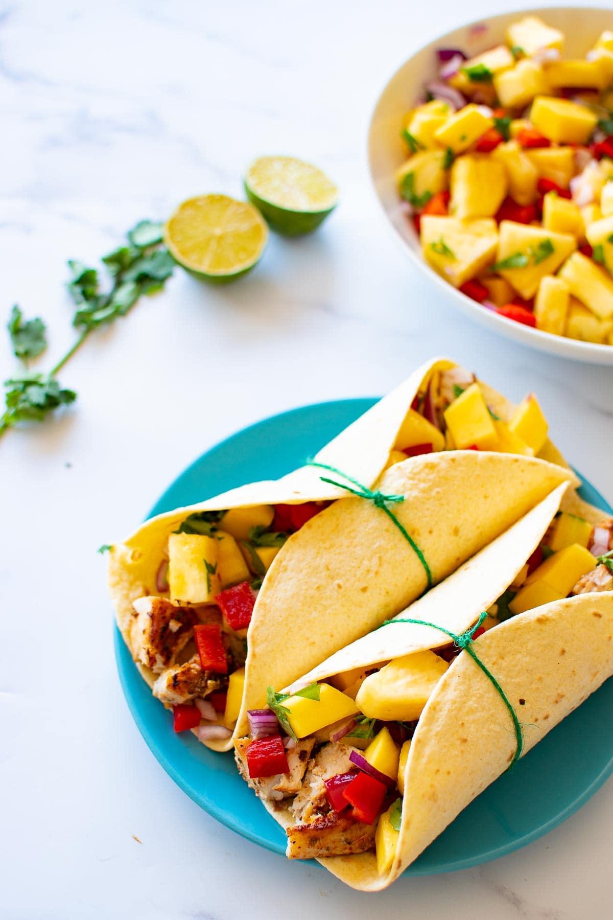 Swordfish tacos and salsa.