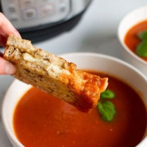 Air fryer grilled cheese dipped in tomato sauce.
