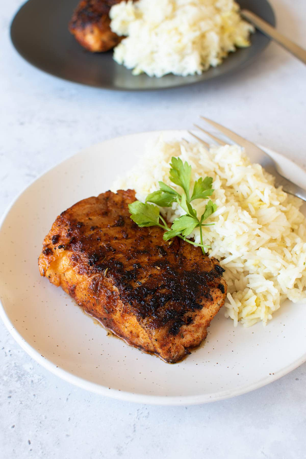 Blackened cod fish on a plate with rice.