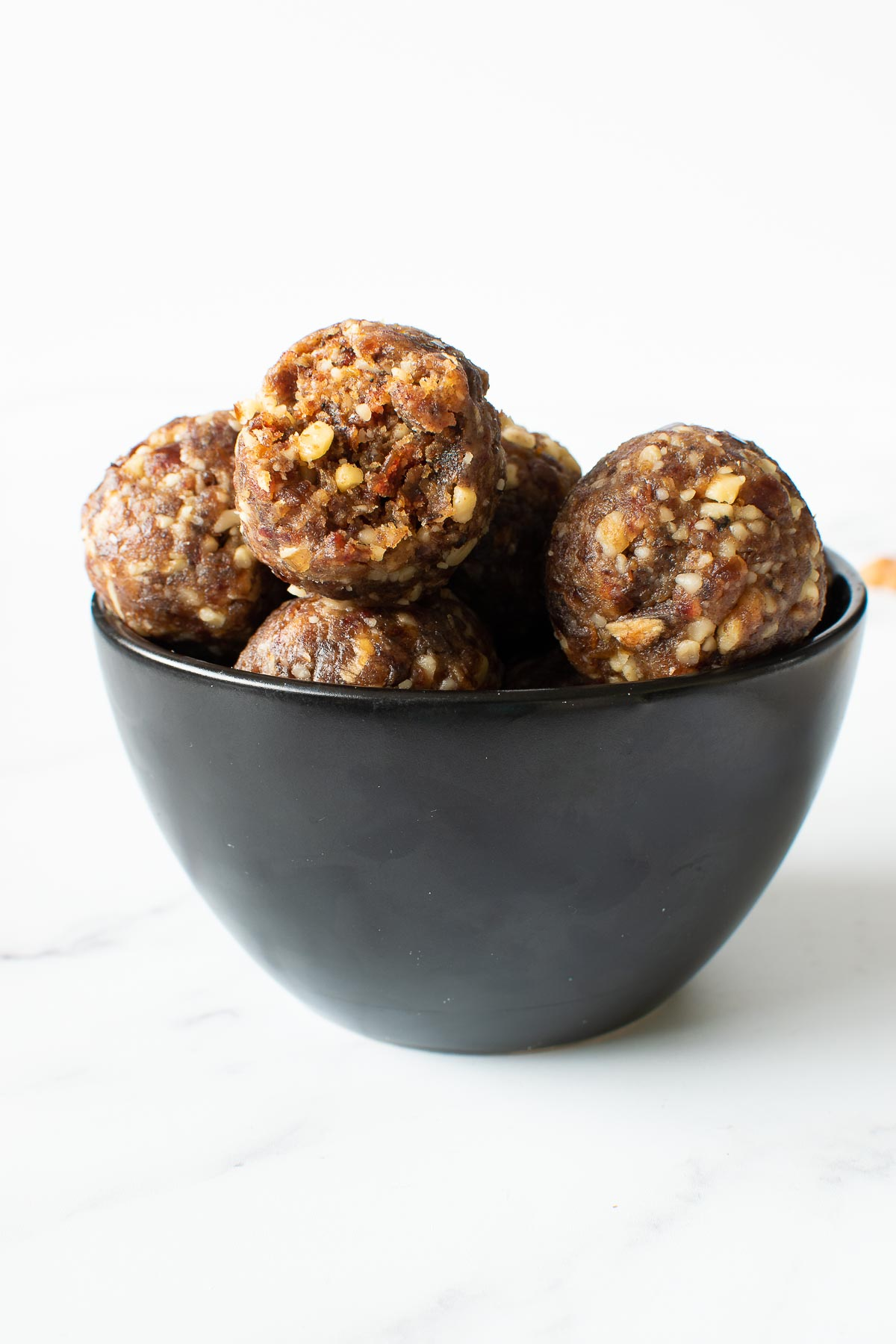 A bowl of homemade energy balls.