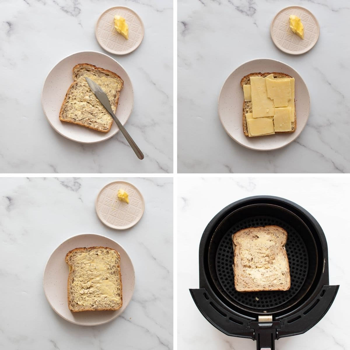 Step by step how to make grilled cheese sandwich in an air fryer.