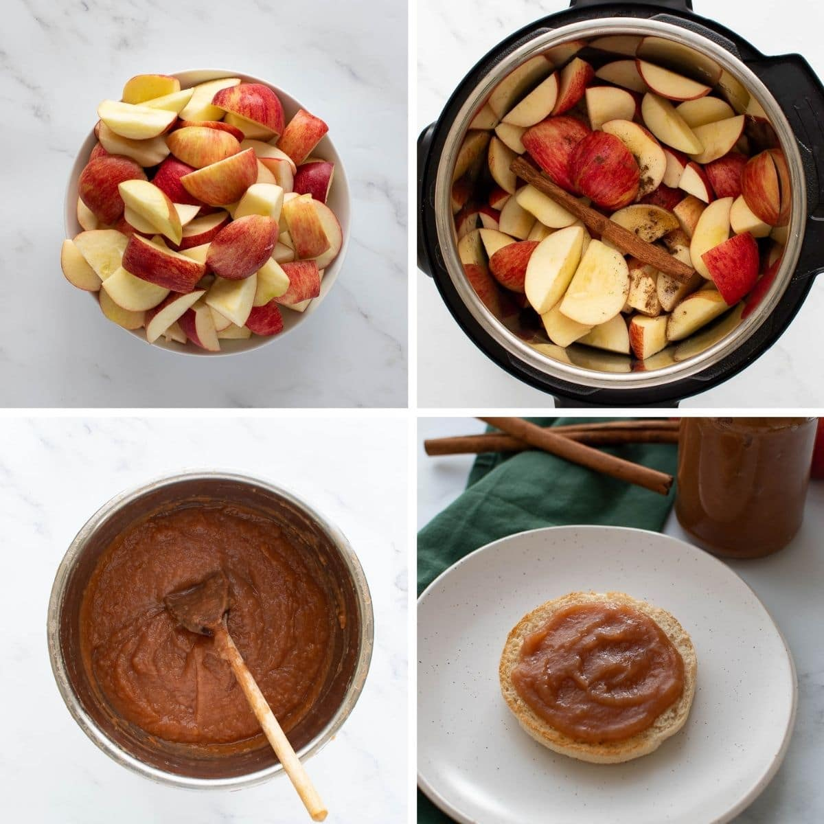 Step by step images showing how to make apple butter in the pressure cooker.