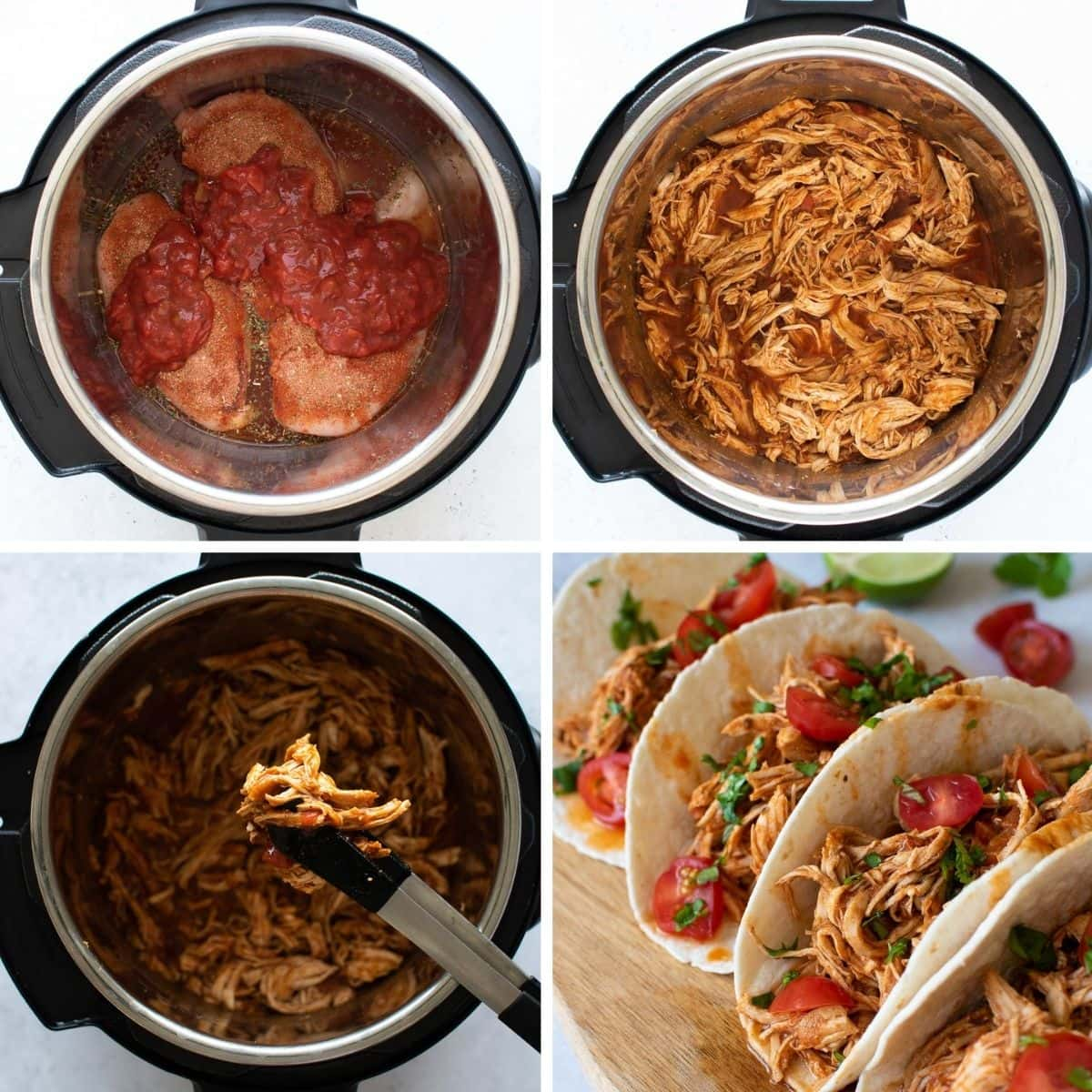 How to make salsa chicken tacos in the Instant Pot.