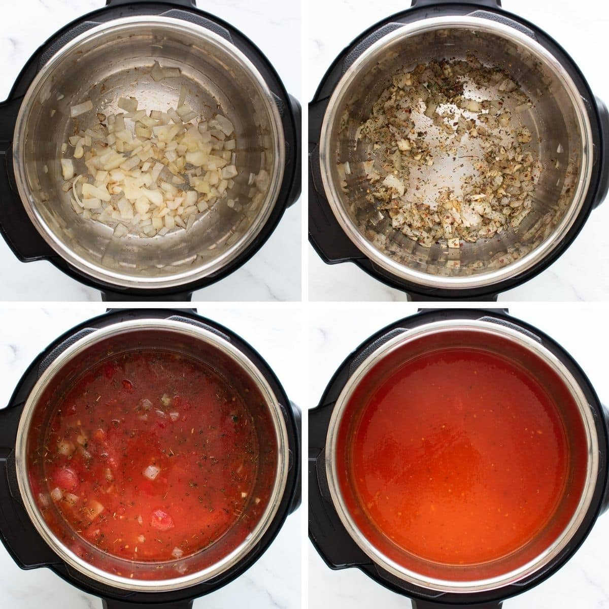 Step by step images showing how to make tomato soup in the instant pot.