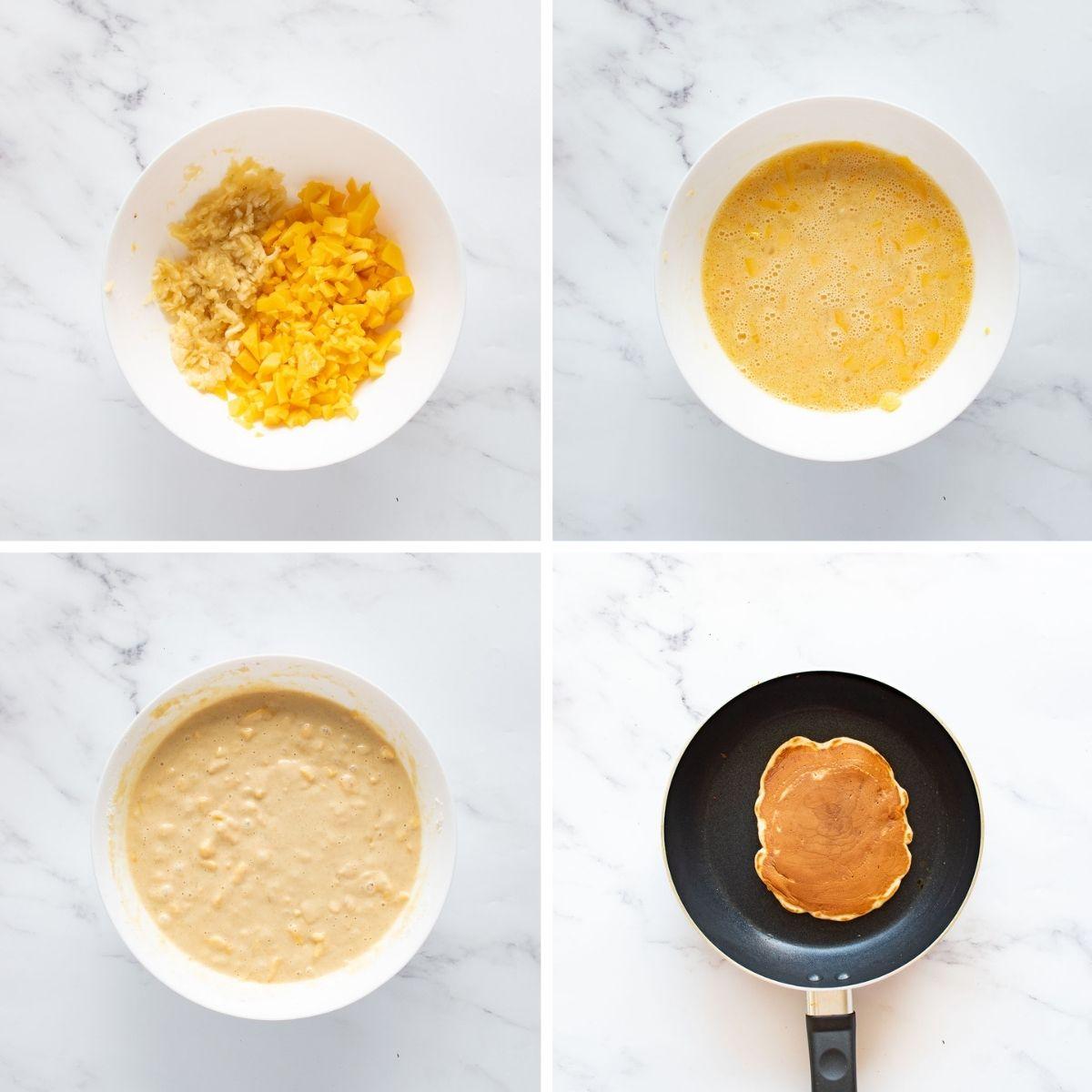 Step by step ingredients to make mango pancakes.