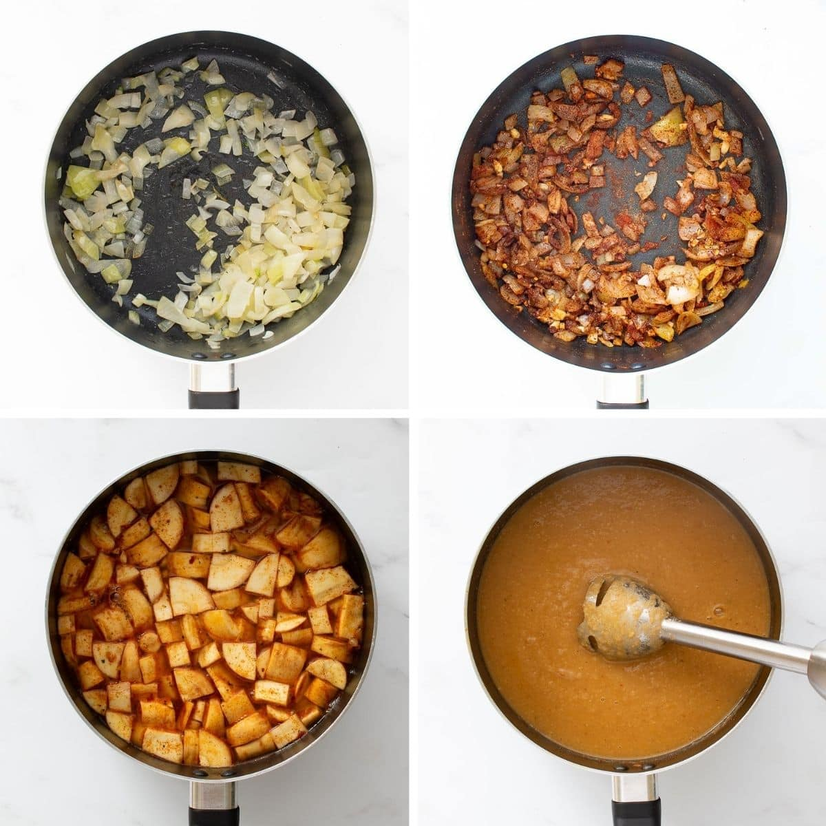 Step by step images showing how to make spicy parsnip soup with red pepper flakes.