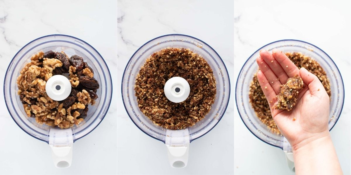 Step by step images showing how to make date energy balls