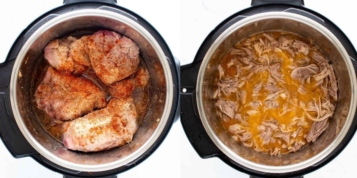 Step by step instructions for how to make shredded pork in the instant pot.