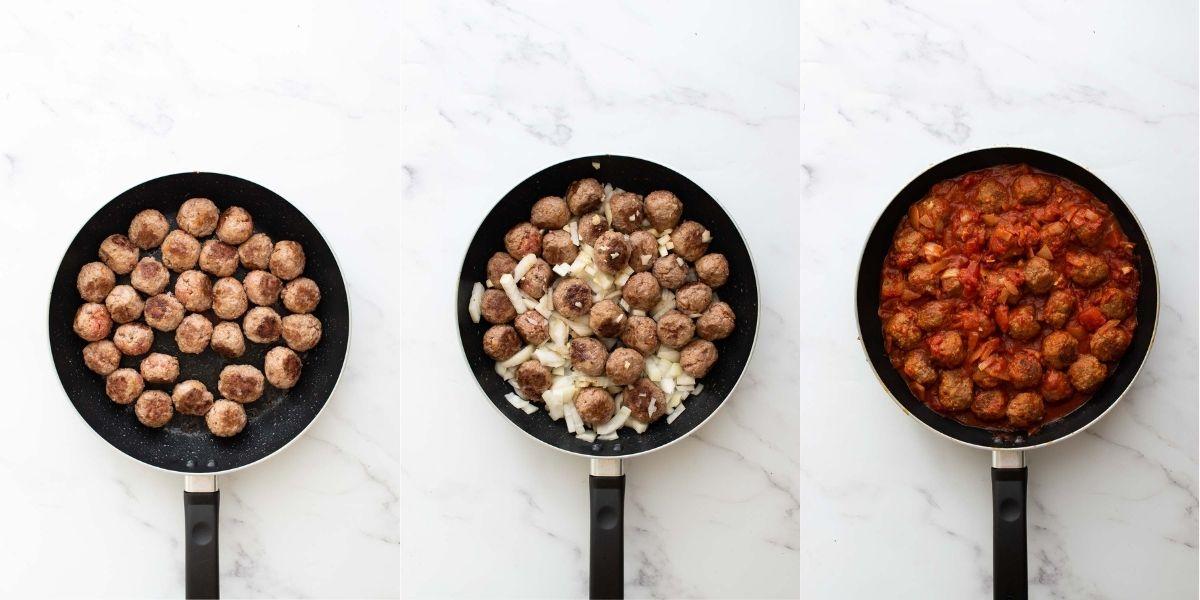 Step 4-6 how to make spanish meatballs.