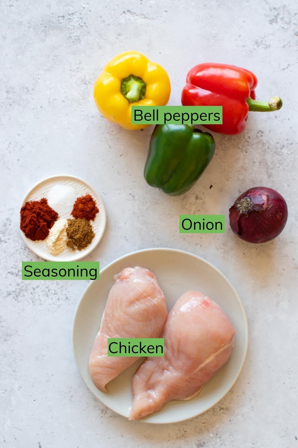 Ingredients for fajitas.