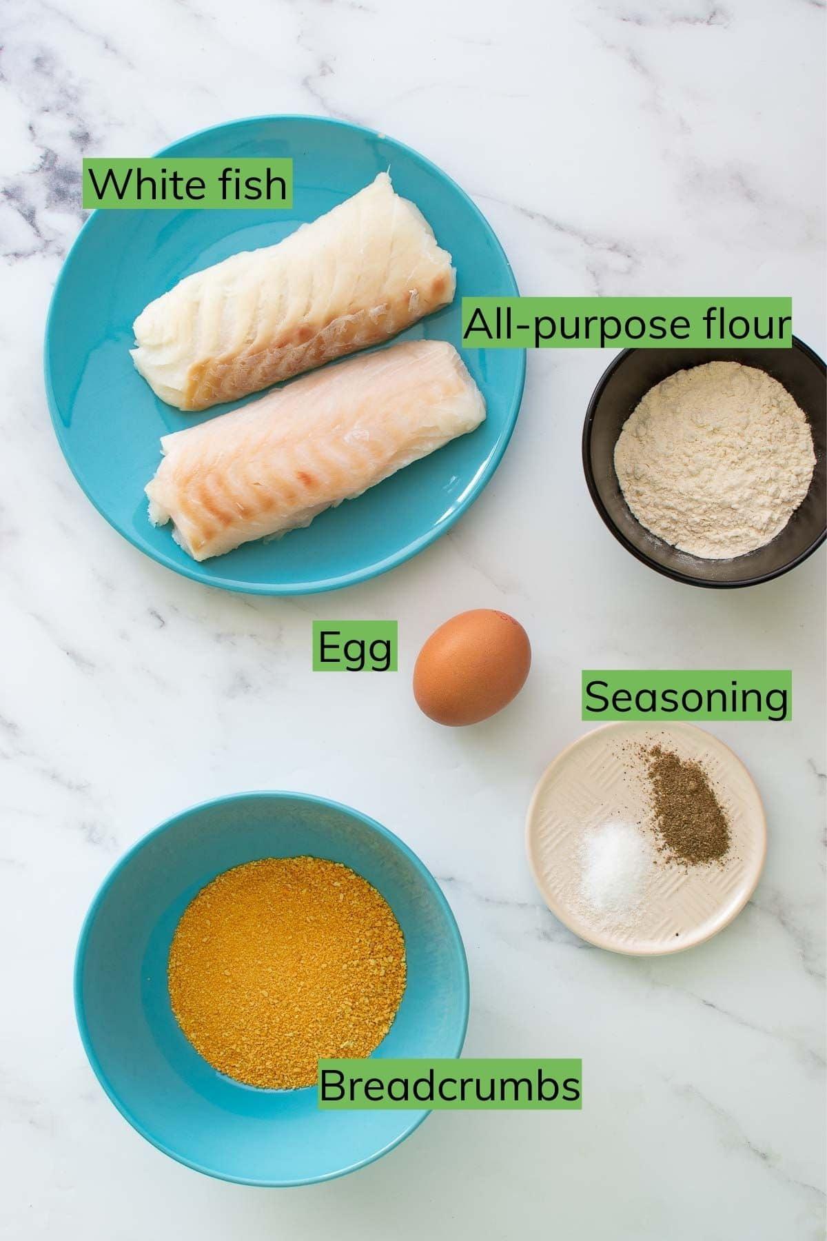 Fish finger ingredients.