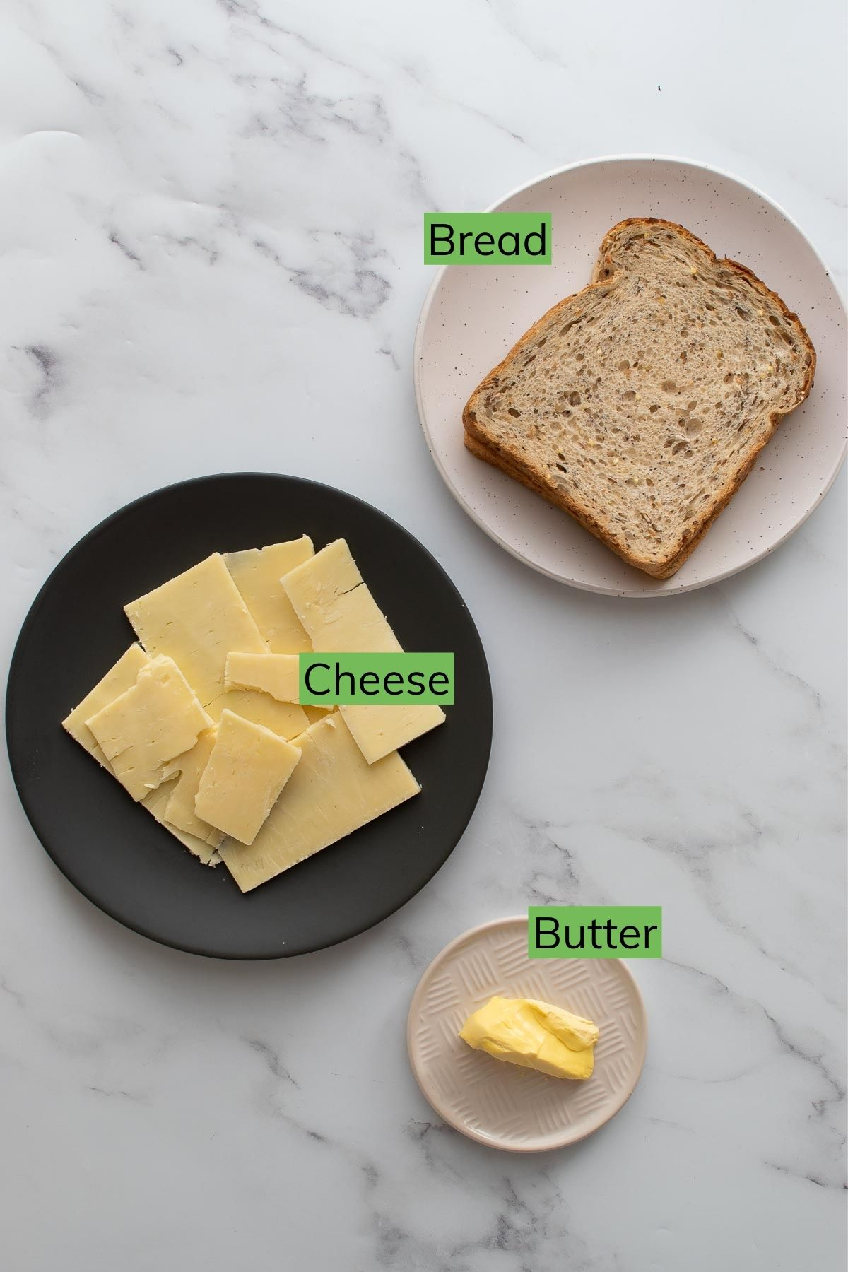 Grilled cheese ingredients.
