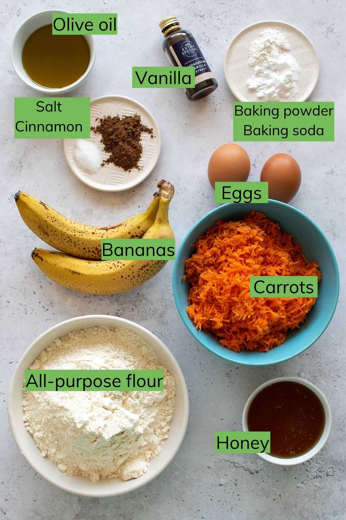 Banana and shredded carrot muffin ingredients.