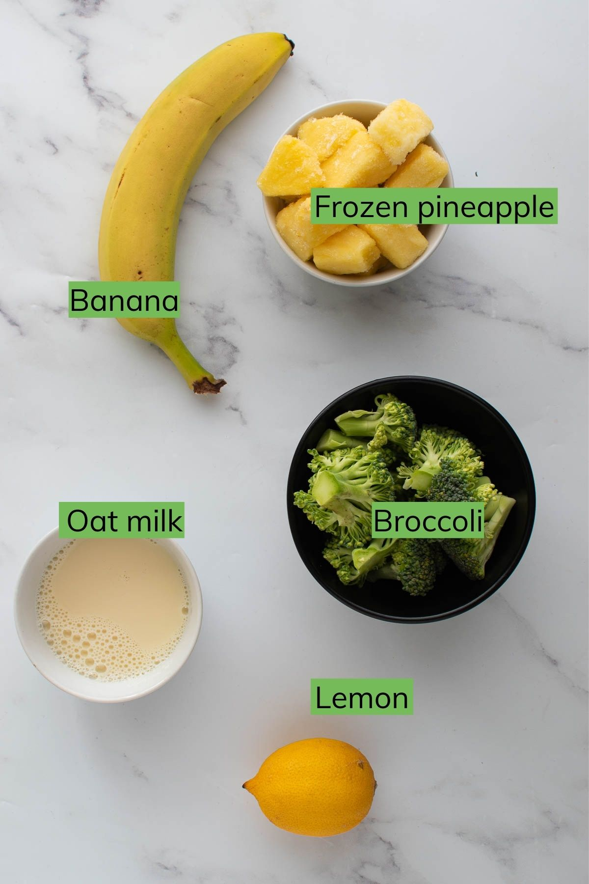 Ingredients to make smoothie with broccoli and pineapple.