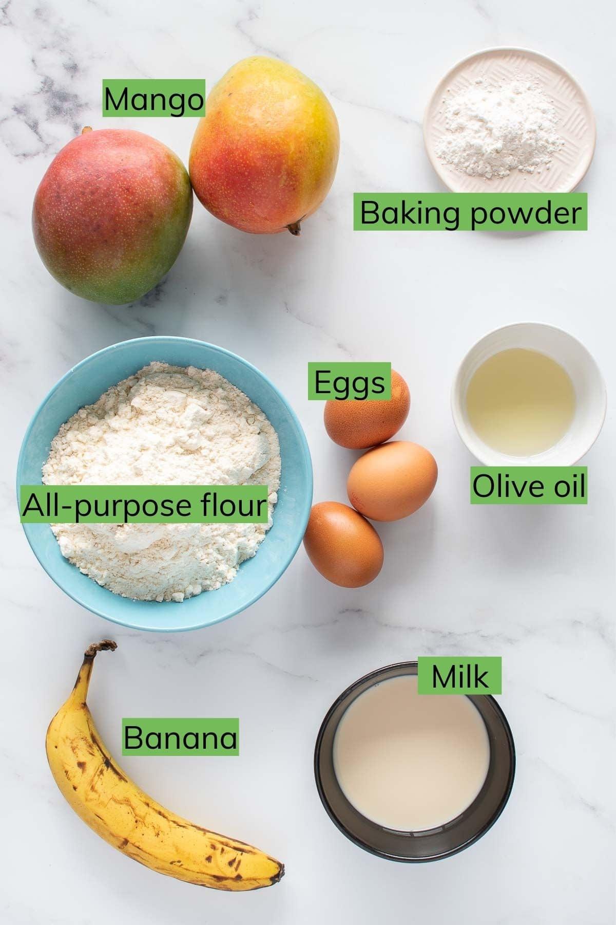 Ingredients to make mango pancakes.