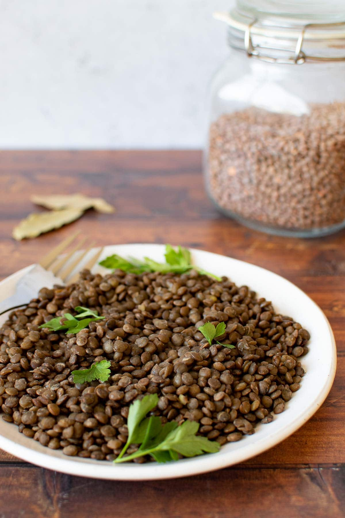 Cooked lentils on a plate.