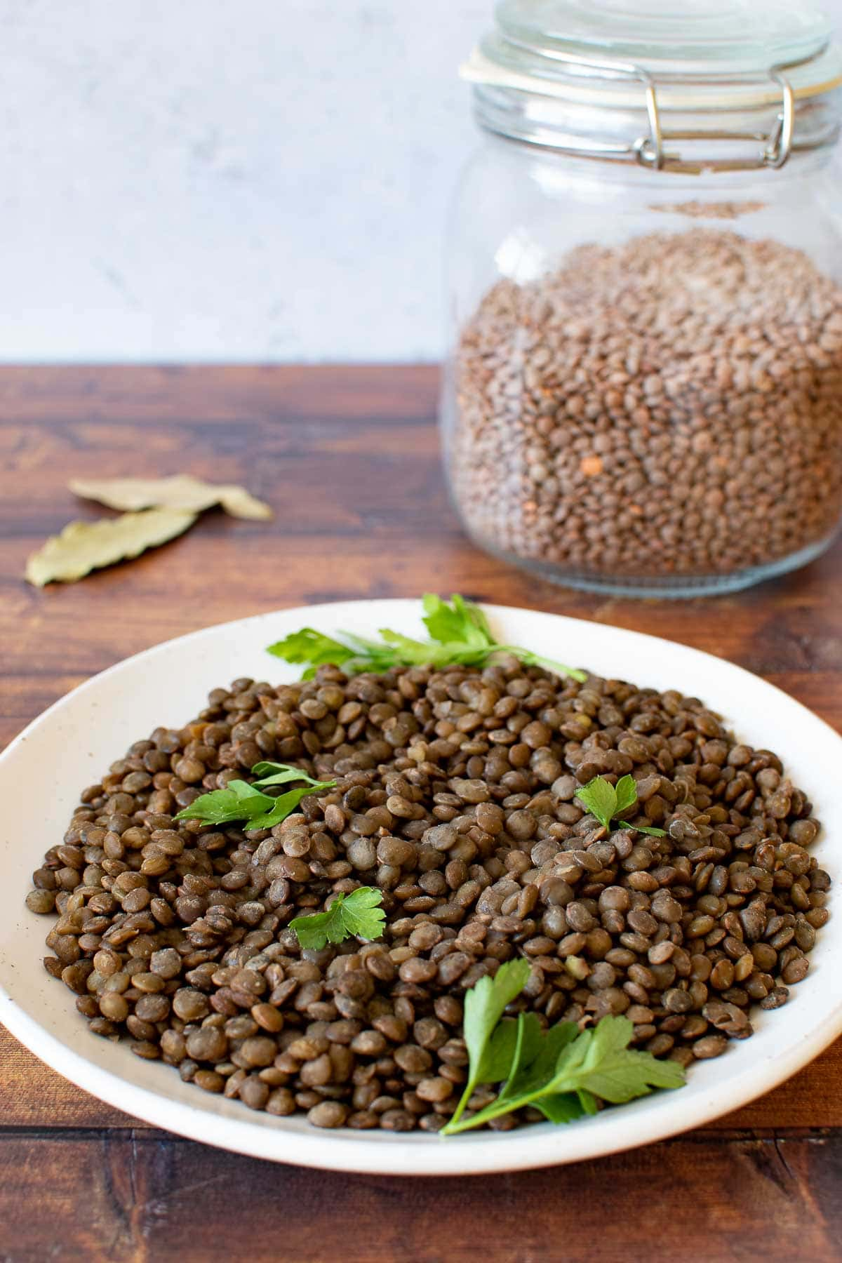 A plate with lentils, with a mason jar with dry lentils in the background.