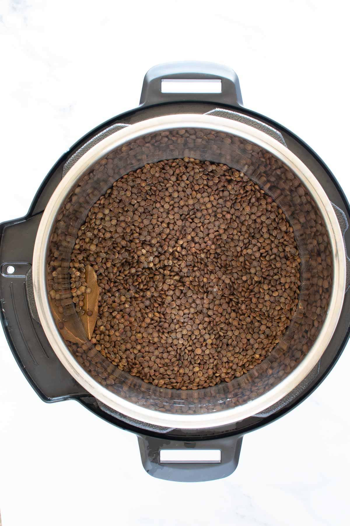 Cooked lentils in an Instant Pot.