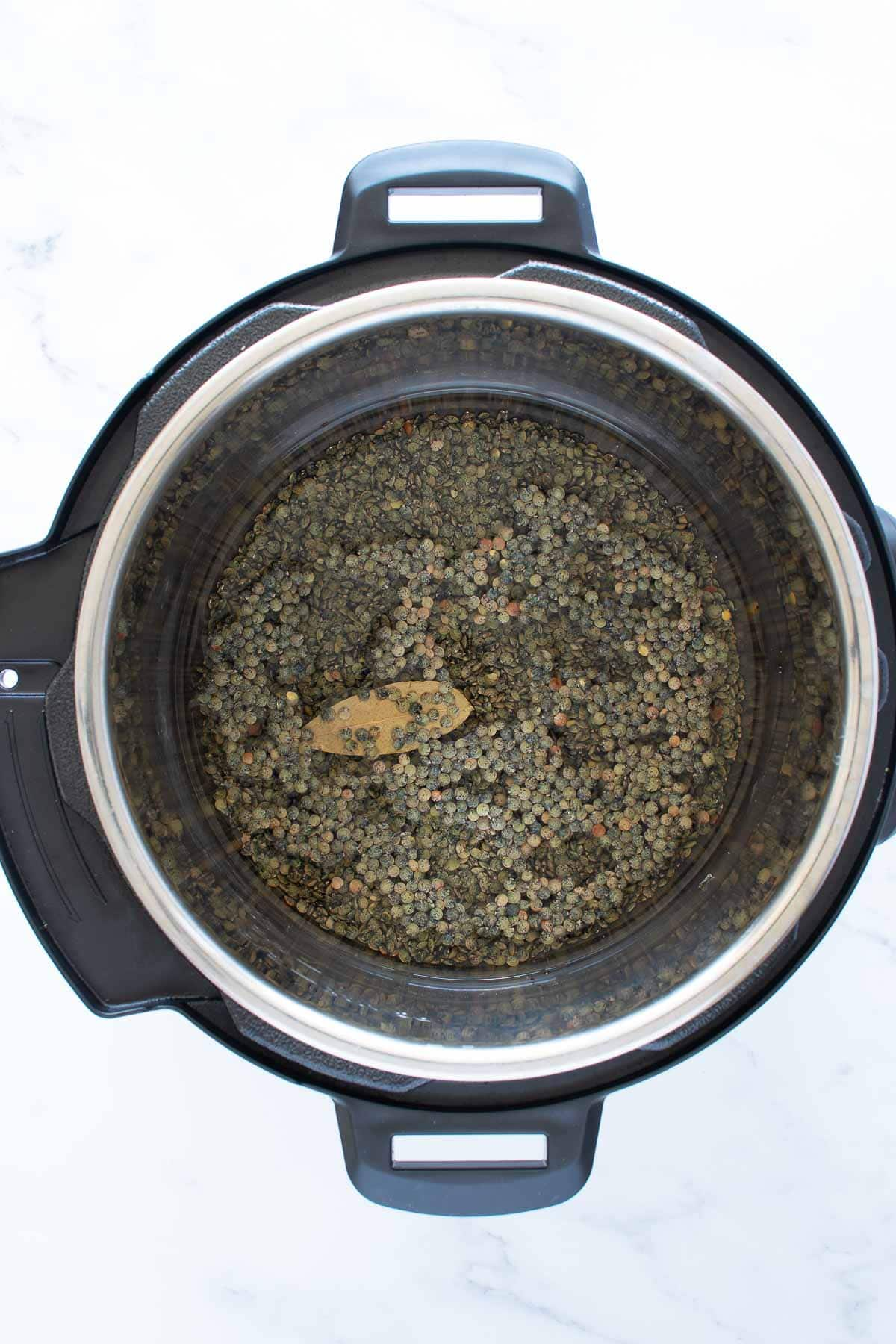 Dry green lentils in a pressure cooker.