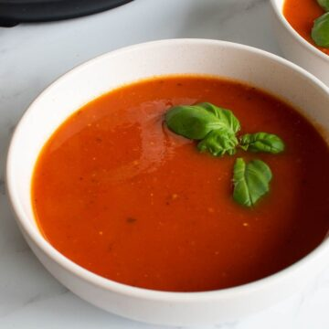 Instant Pot tomato soup with basil.