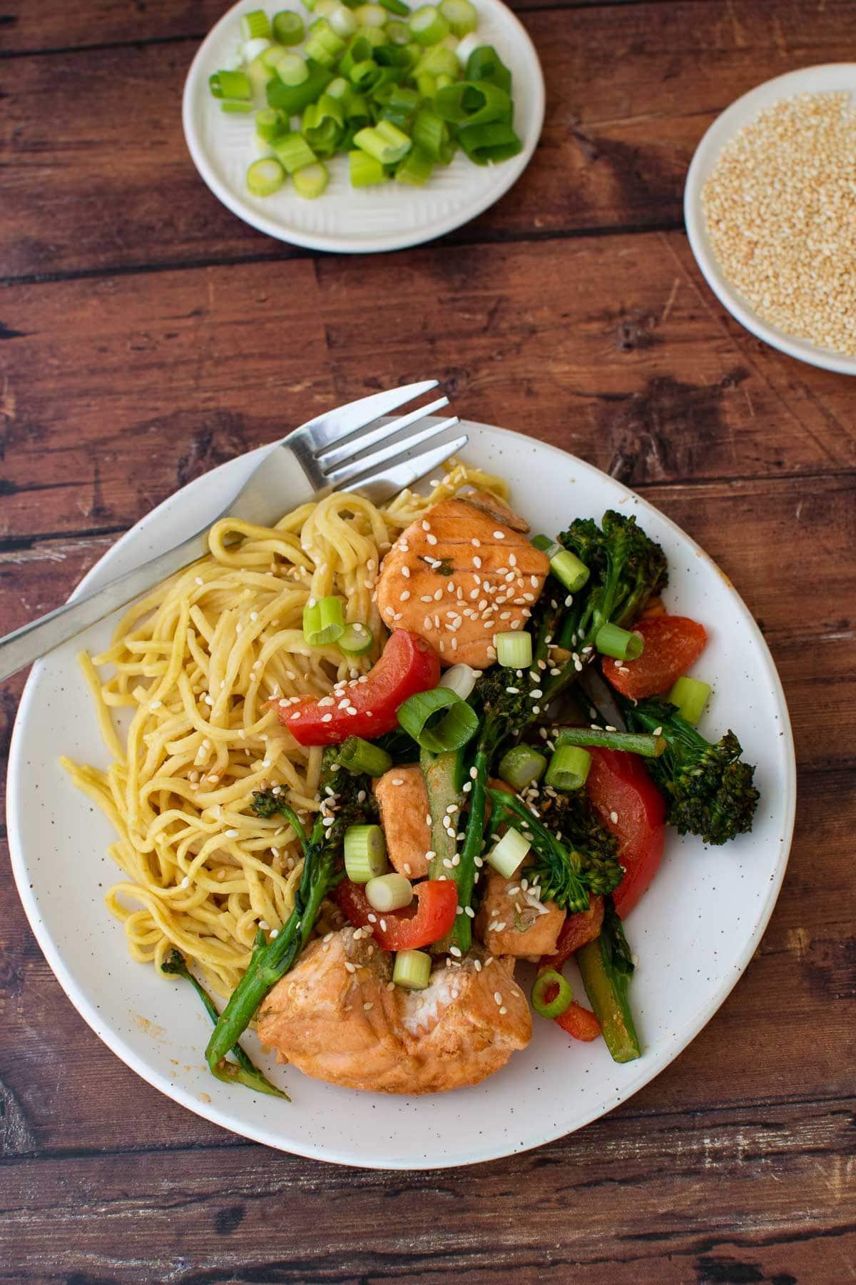 Broccoli and salmon stir fry.
