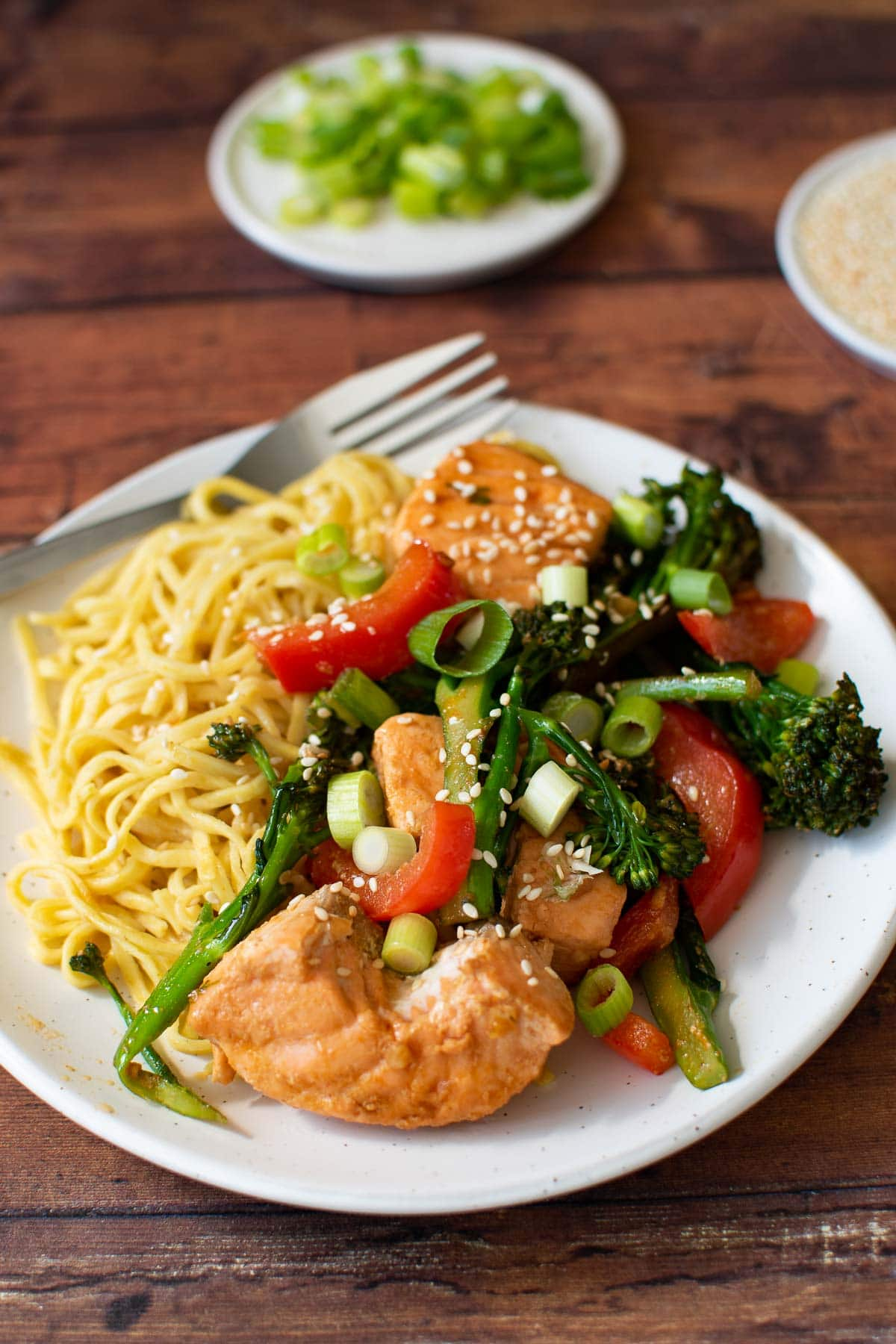 Stir fried salmon, broccolini and red bell pepper.