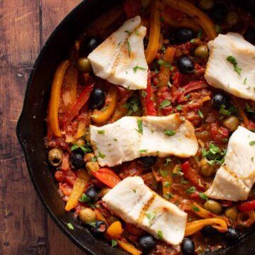 Mediterranean baked hake.