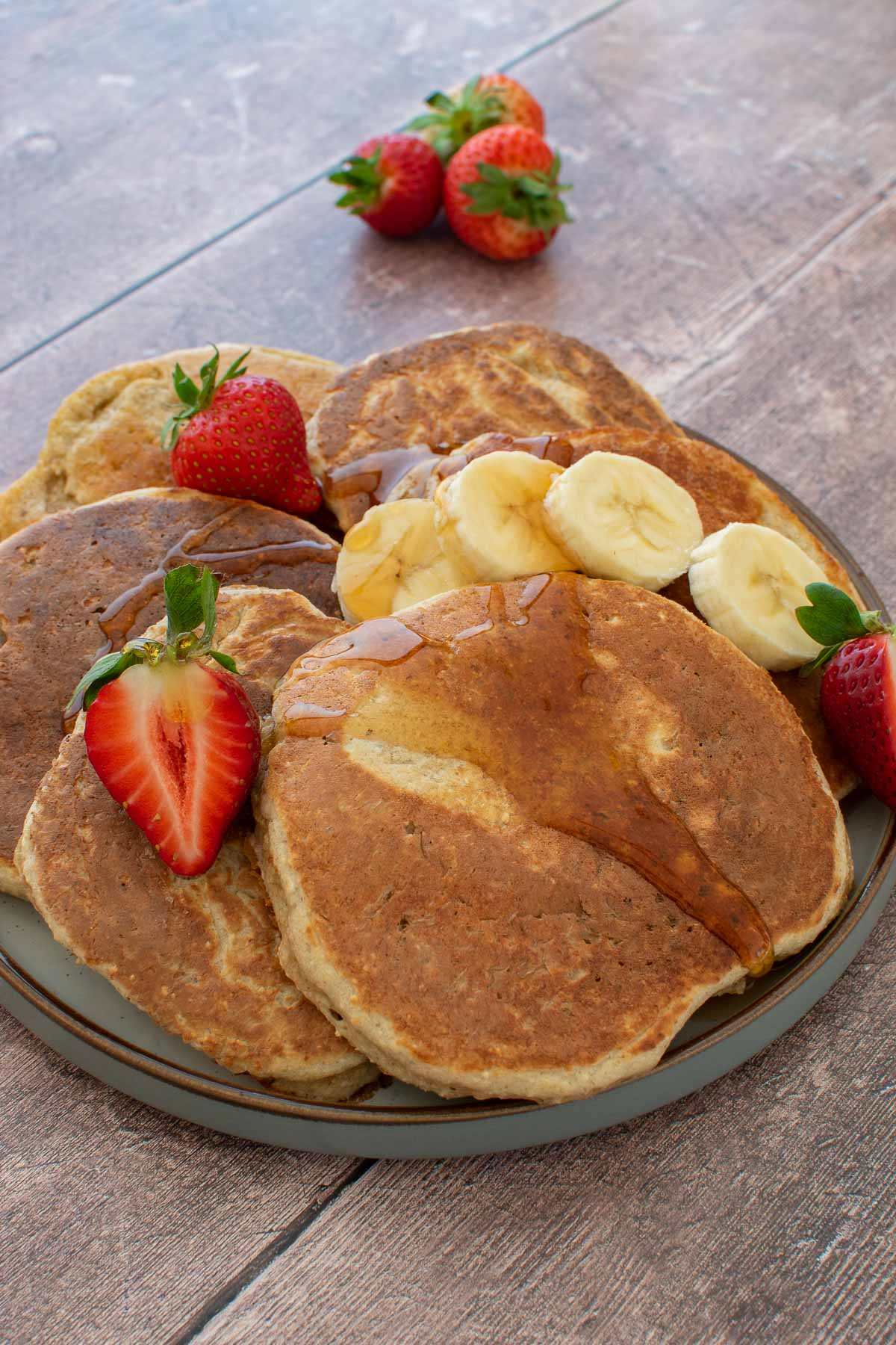 Protein pancakes with maple syrup on top.