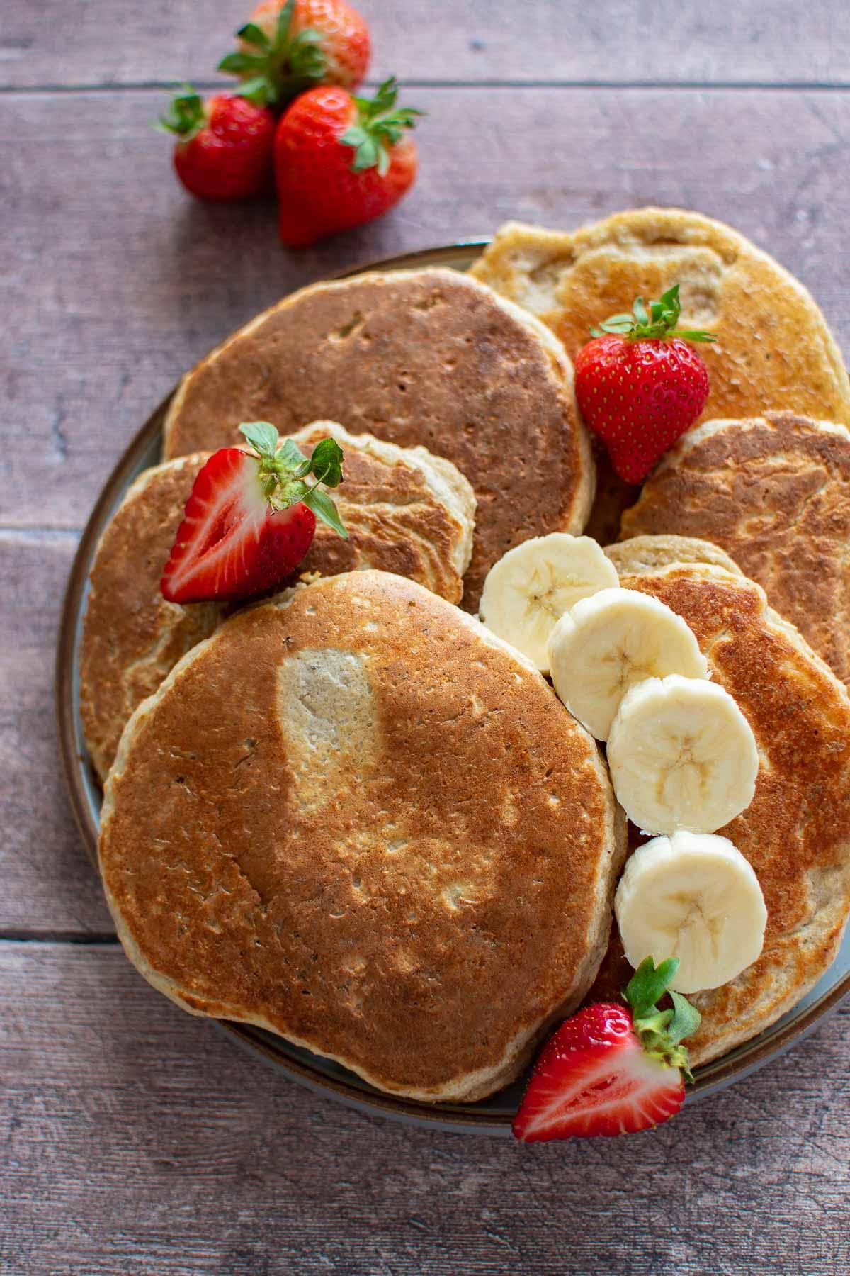 Close up of banana protein pancakes.