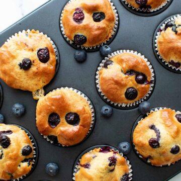 Blueberry protein muffins.