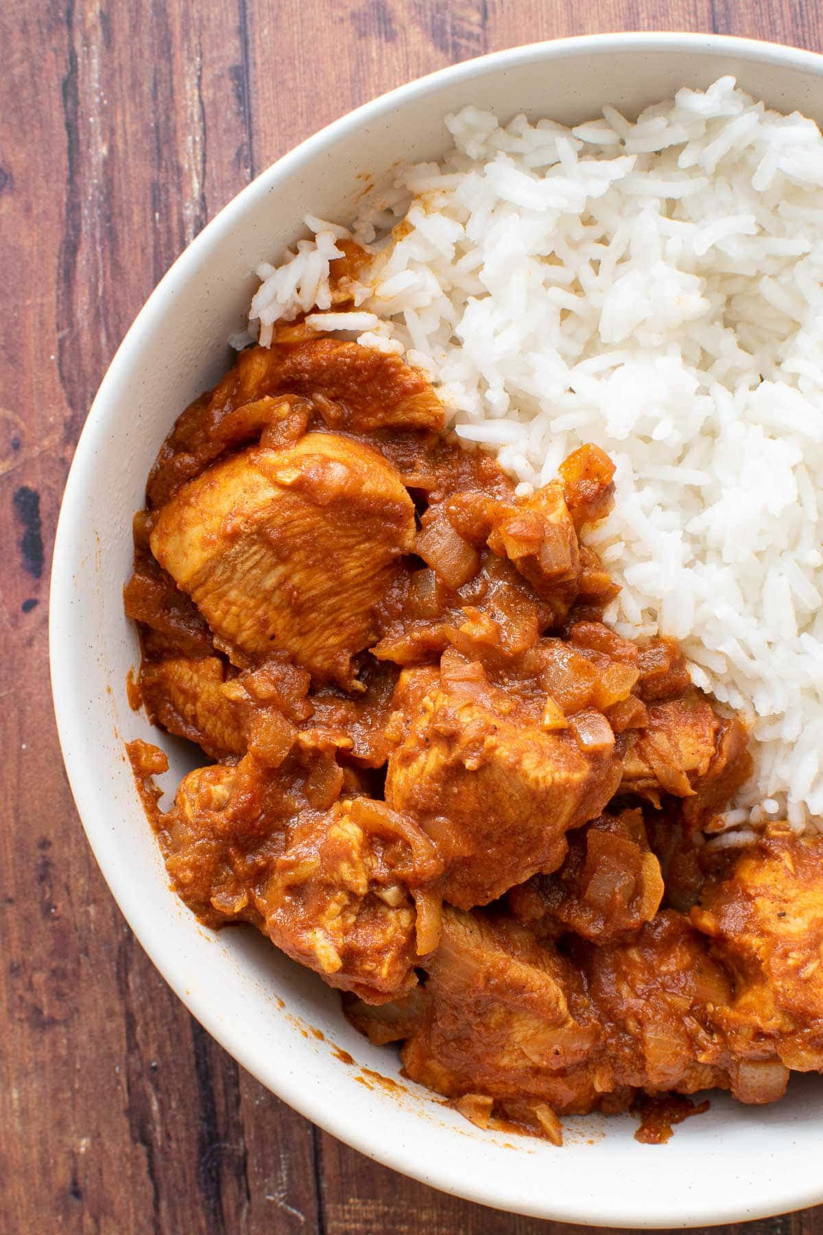 Close up of chicken curry.