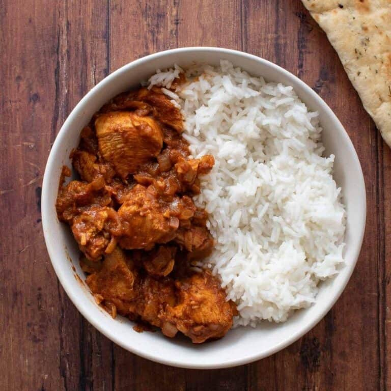 Chicken rogan josh with rice.