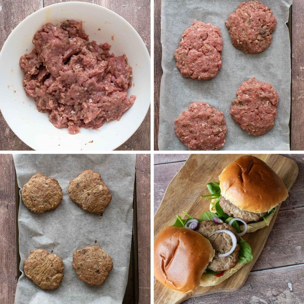 Step by step images showing how to make turkey burgers in the oven.