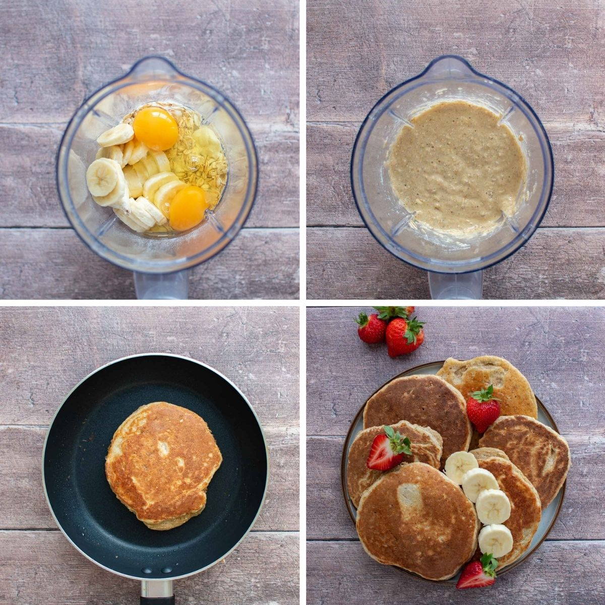 Step by step instructions for making protein pancakes with banana.