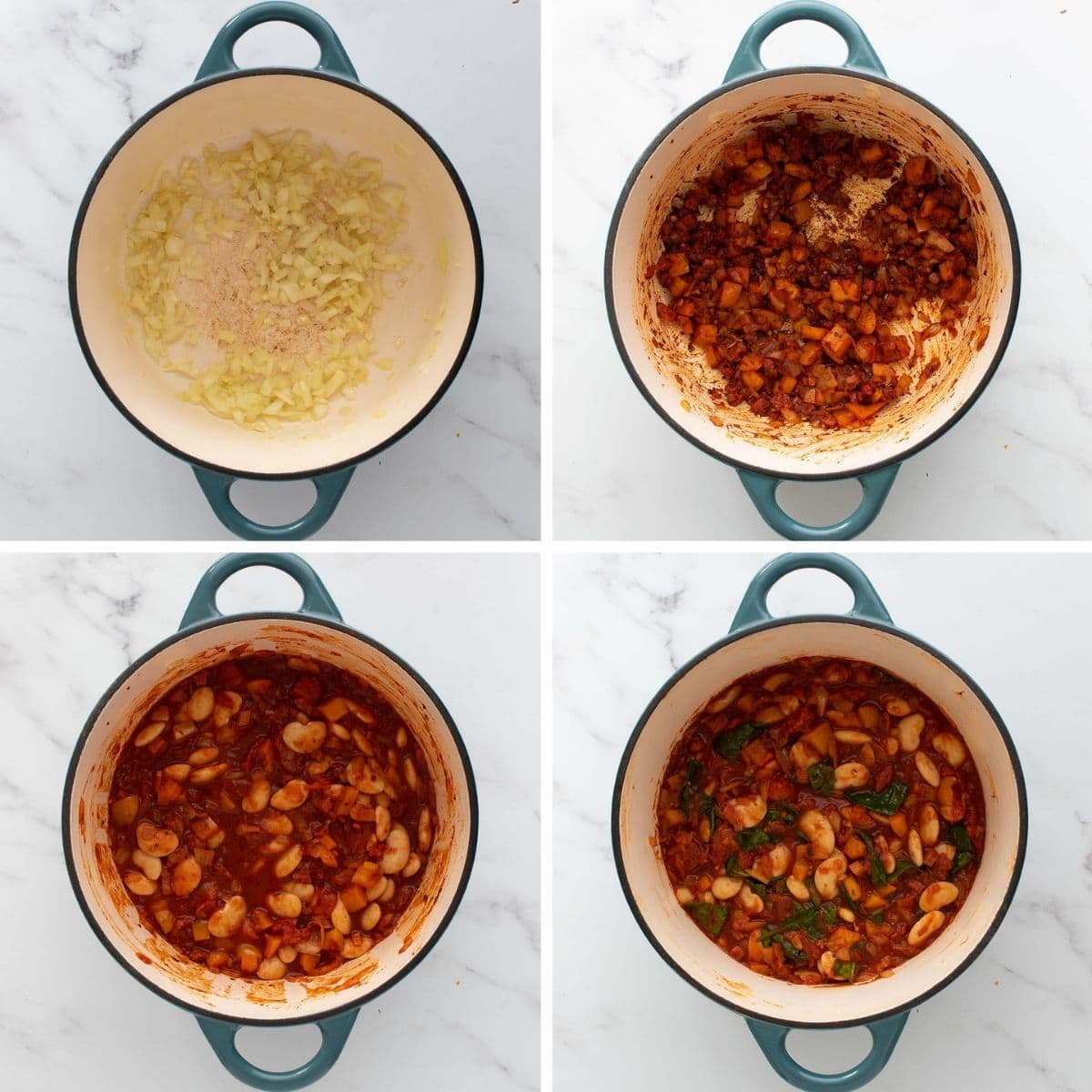 Step by step images showing how to make butter bean and chorizo stew.