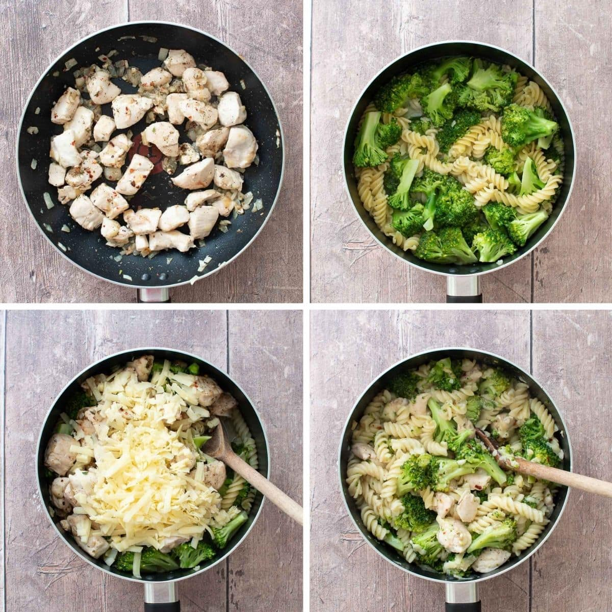 Step by step images showing how to make chicken broccoli pasta.