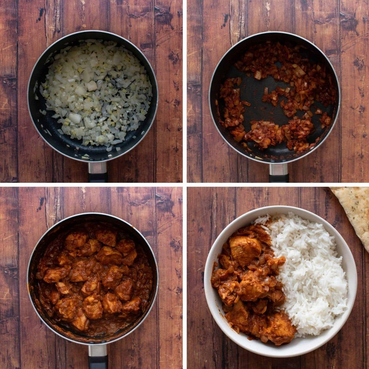 Step by step instructions showing how to make chicken rogan josh curry.