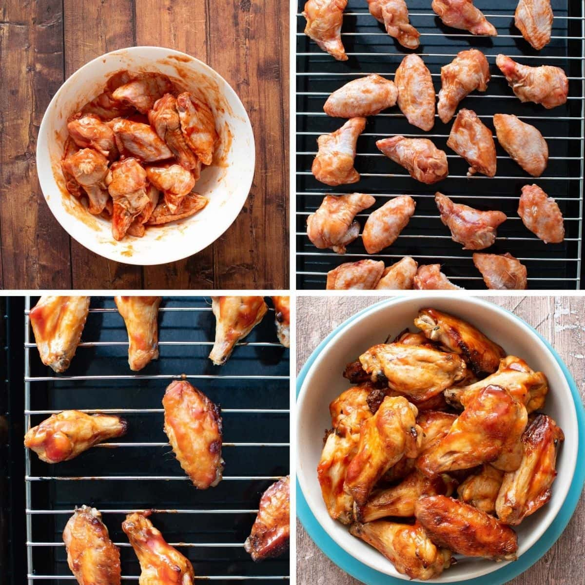 Step by step images showing how to make baked wings with sriracha.
