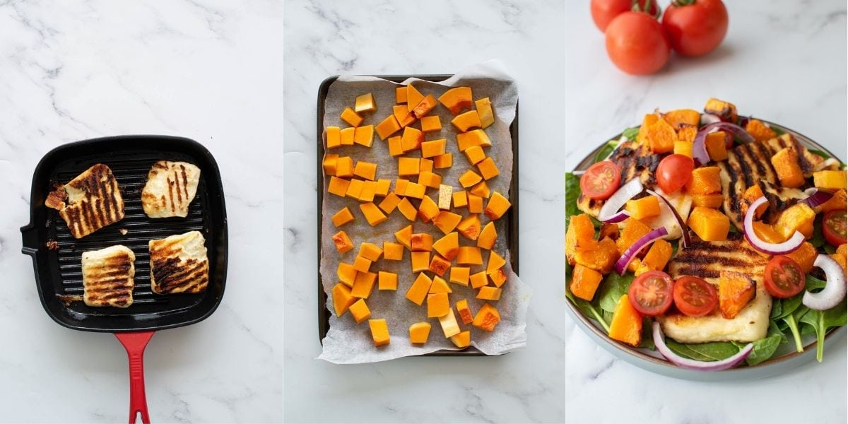 Step by step images showing how to make halloumi butternut squash salad.