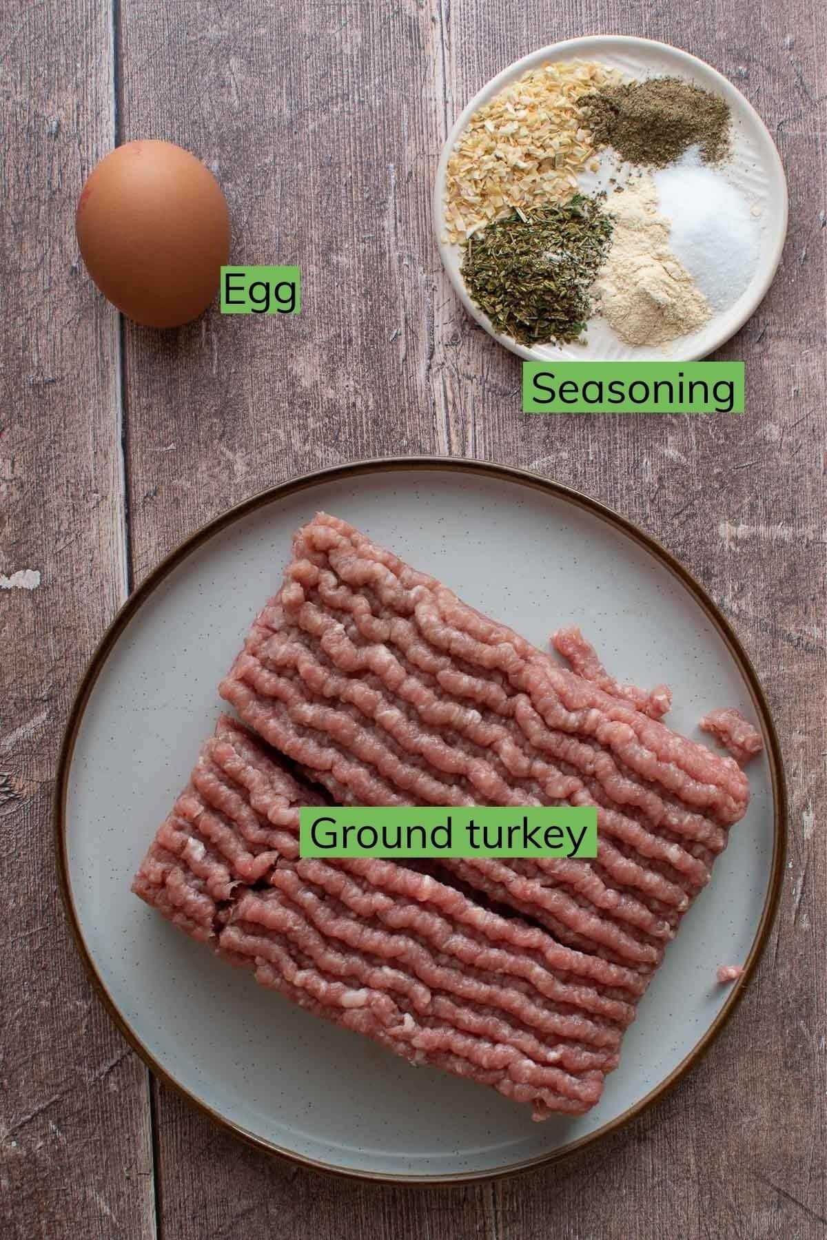 Ground turkey burger ingredients.