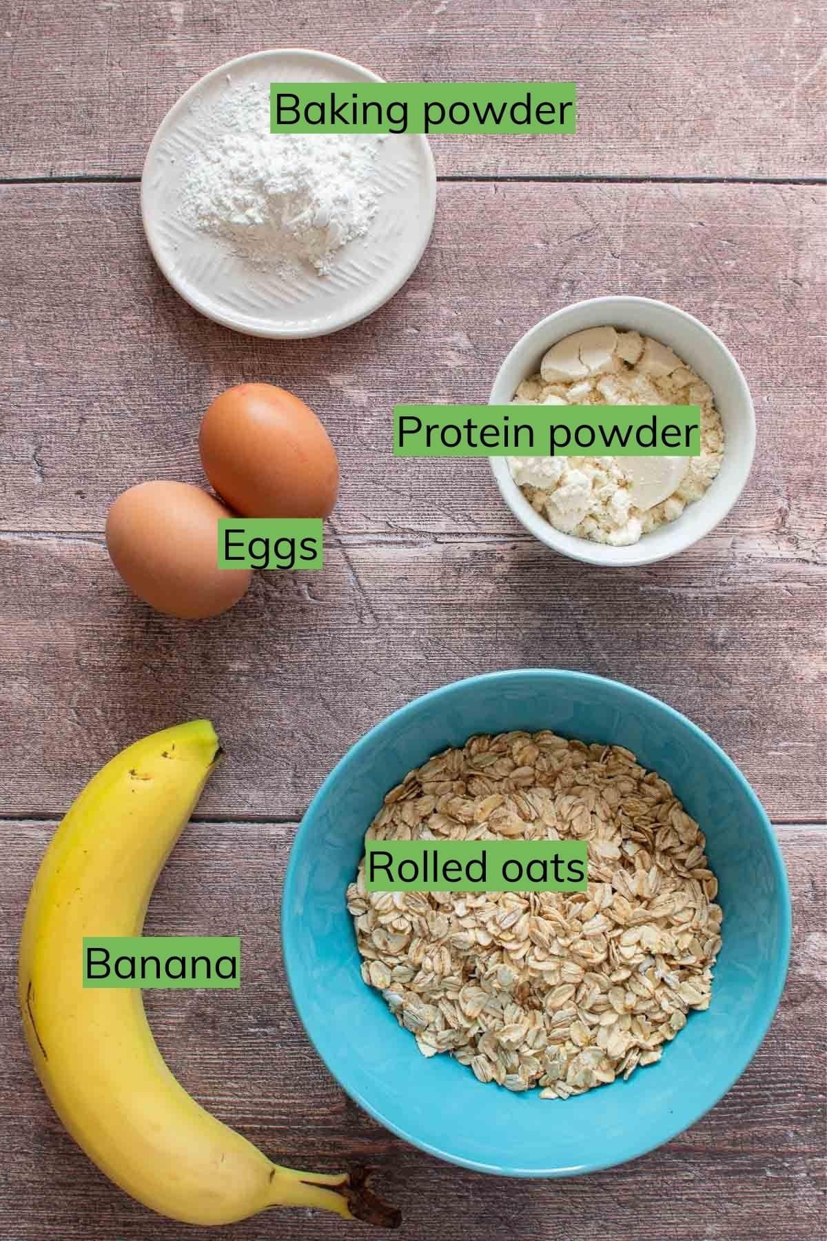 Banana protein pancake ingredients.