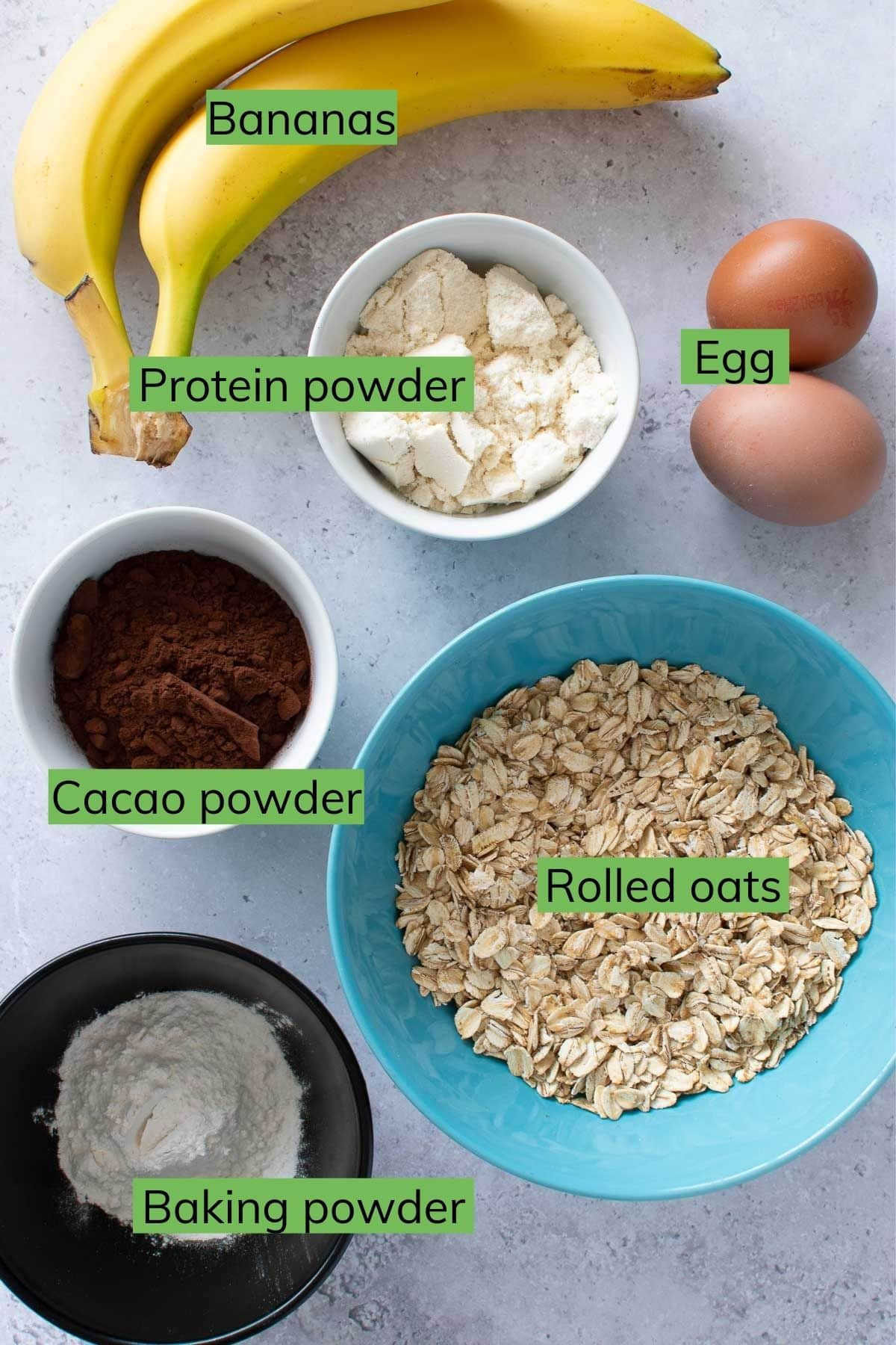 Ingredients for chocolate protein pancakes.