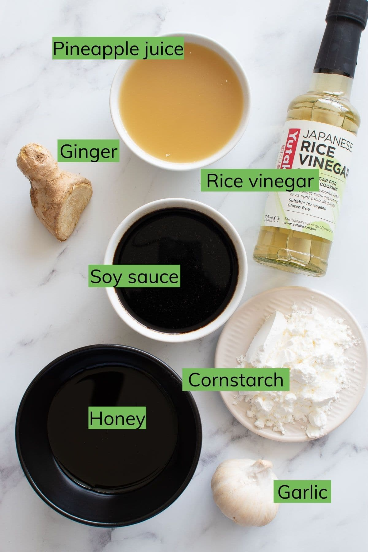 Ingredients to make healthy teriyaki sauce from scratch.