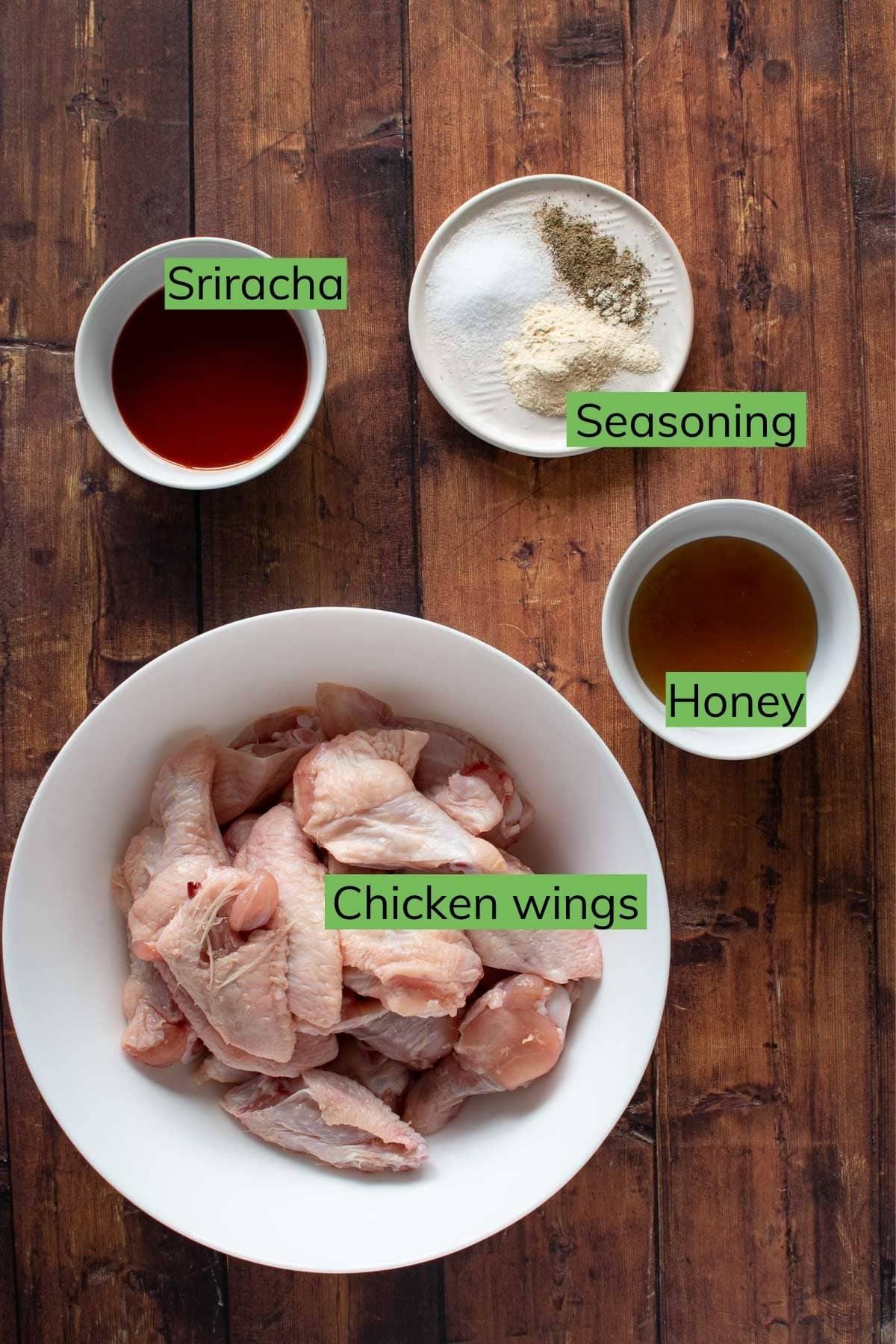 Ingredients to make honey sriracha chicken wings.