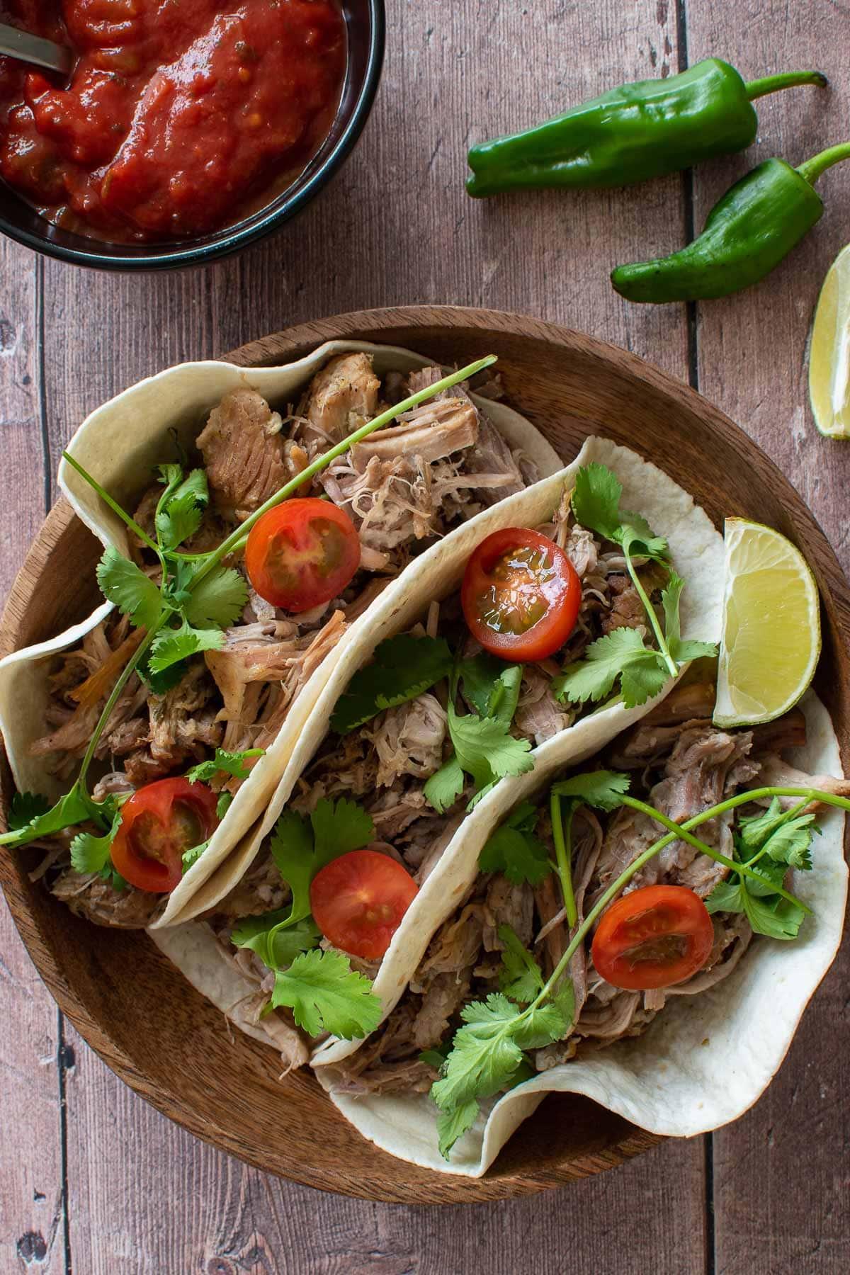 Pressure cooker carnitas pork tacos.